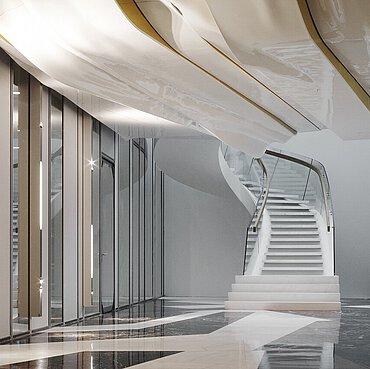 The staircase in the Amsterdam law offices of De Brauw Blackstone Westbroek N.V., designed by architectural agency Erick van Egeraat.