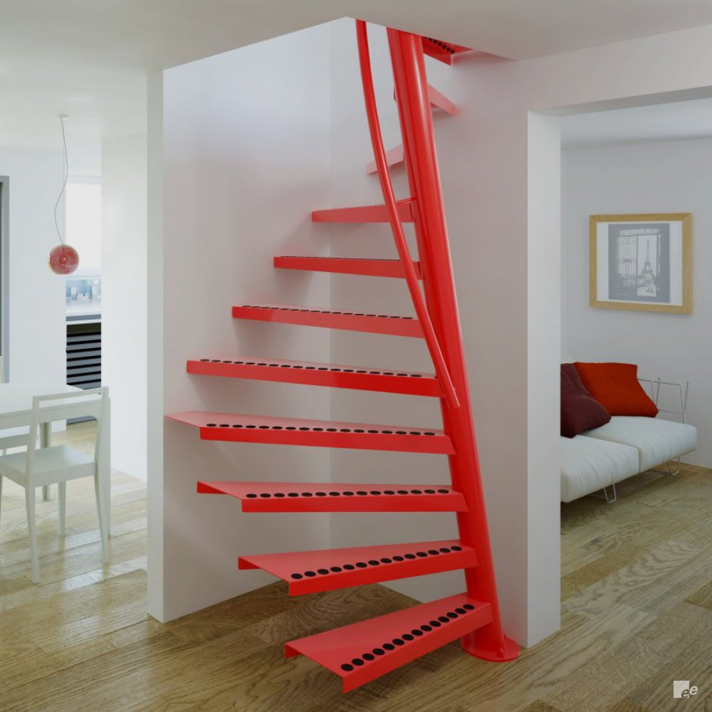 red space-saving staircase on a wooden floor, with a white sleeper ...