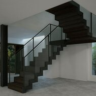A climbing vine in a hall with parquet floor and a winding staircase with balustrades and a patina finish.