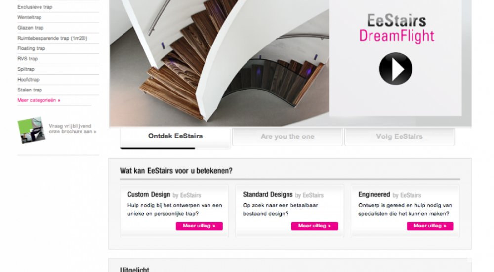 A screenshot of the website of EeStairs, with text frames, photos and an illustration of a winding staircase.