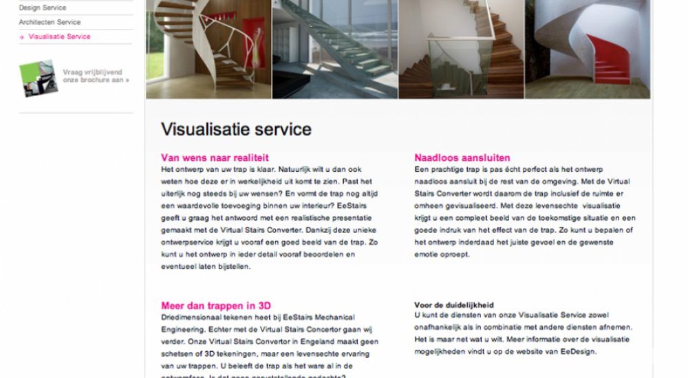 A screenshot of the Visualisatie Service page on the website of EeStairs, with photos and text frames.