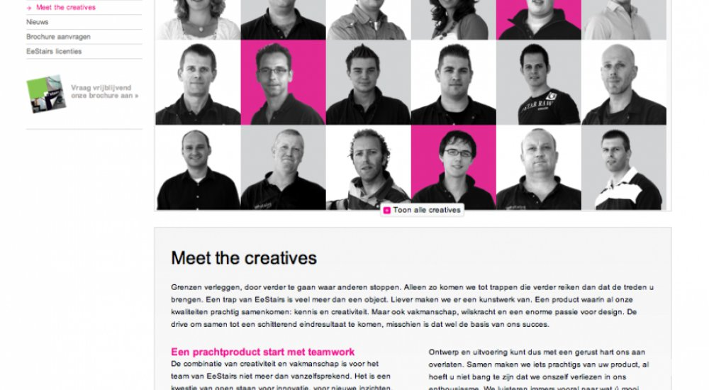 A screenshot of the website of EeStairs, with text, a menu bar and portrait photos of employees.