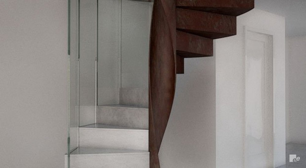 A spiral staircase with inter alia a balustrade with brass finish, in a hall with a flat door.