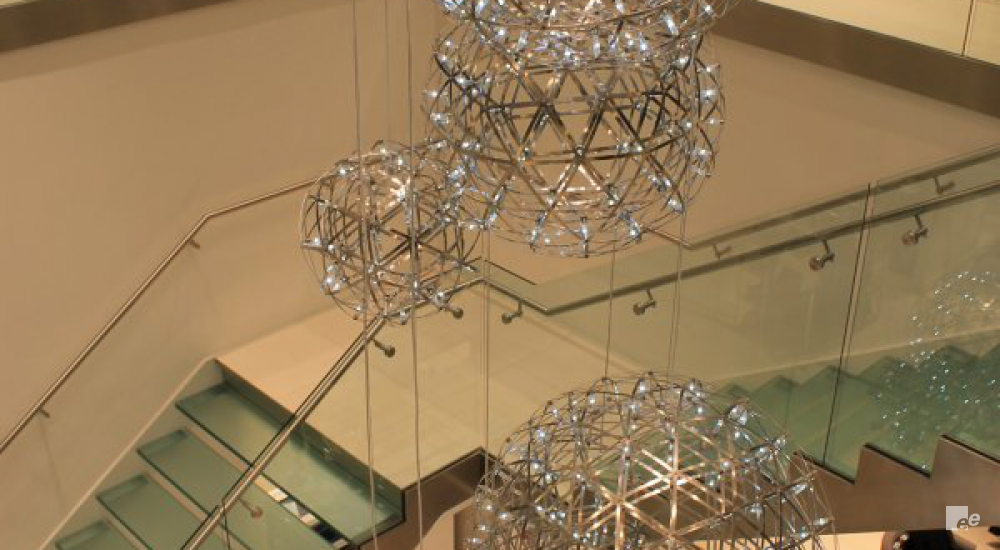 Hanging lamps with checked motif in the Le Chateau shopping centre in Calgary, with a view of a staircase with landing.