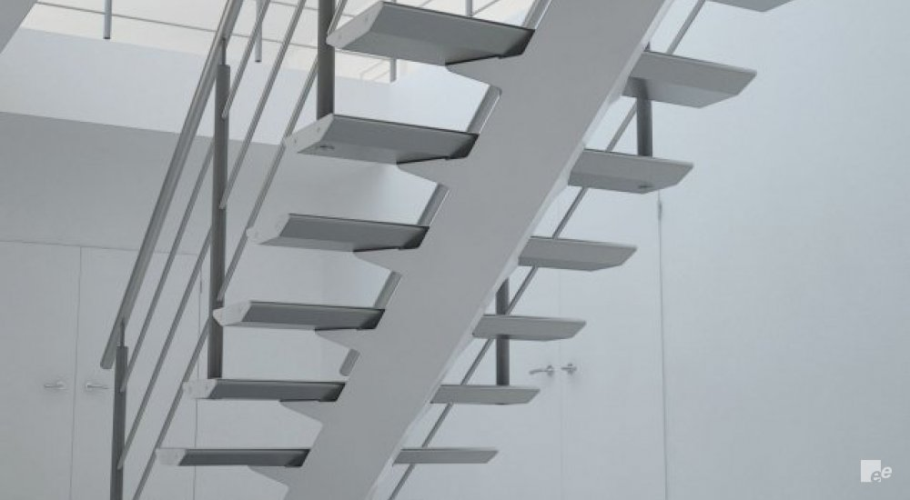 The underside of an aluminium lightweight staircase with balustrade, with a view of an upper floor with balustrade.