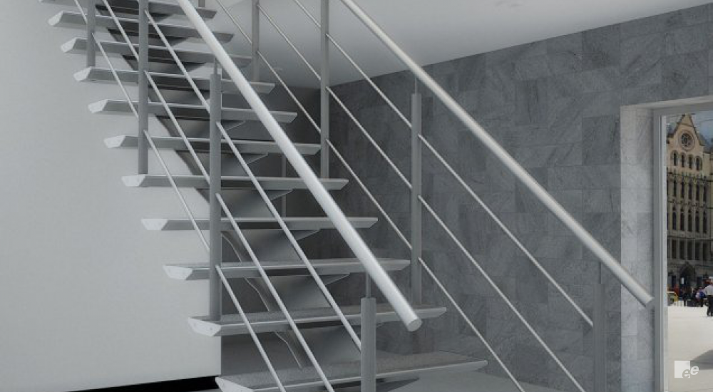 An aluminium lightweight staircase, in a room with a stucco wall, stuccoed ceiling and a window.