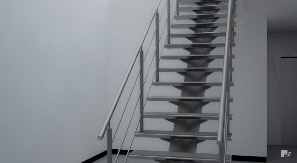 An aluminium lightweight staircase, with a single staircase pillar and a hall to a flat door behind it.