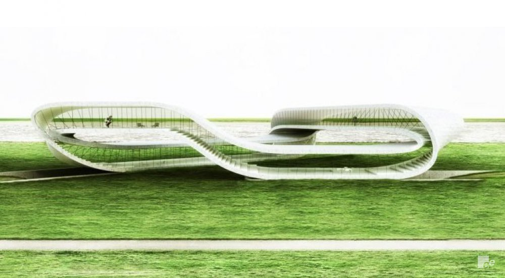Landscape House, a 3D-print pavilion, on a grassy field as an exposition space.