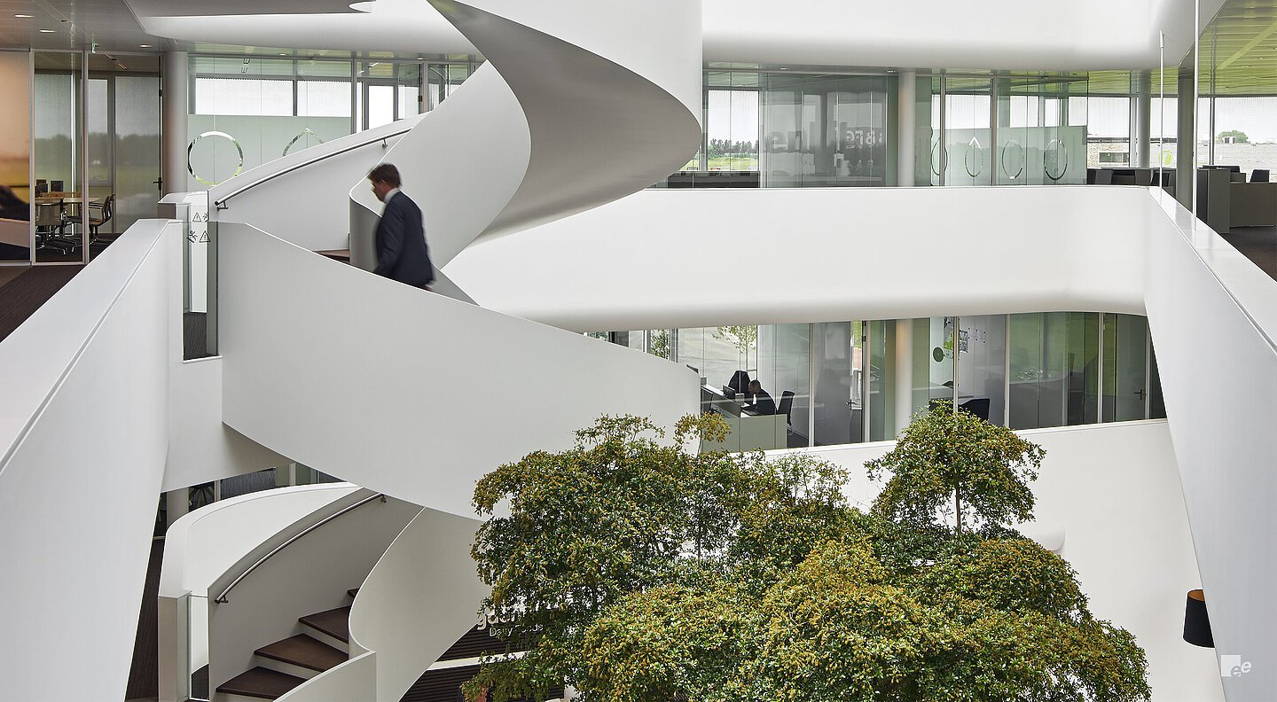 Curved office bespoke staircase